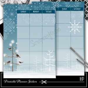 Winter Happy Planner Overlay Printable