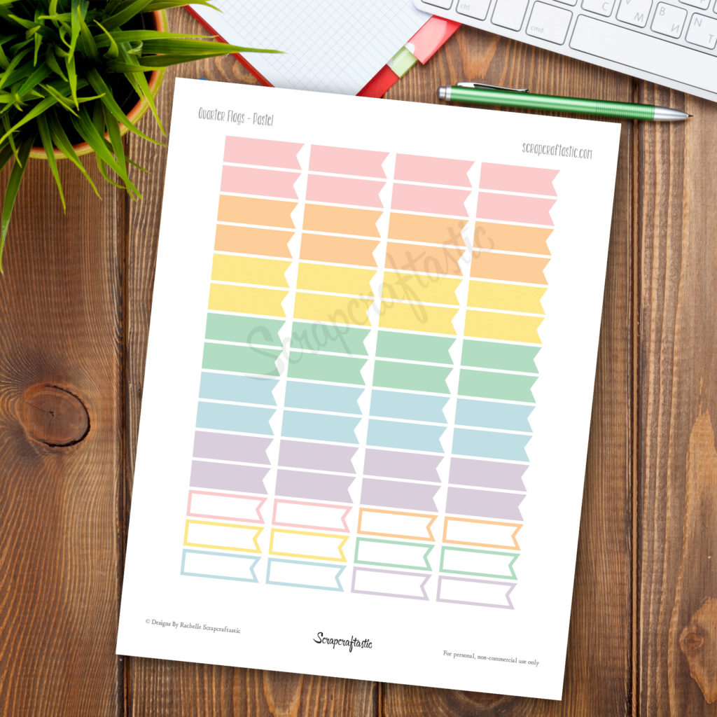 Pastel Flags Printable Planner Stickers for paper Planners and Organizers