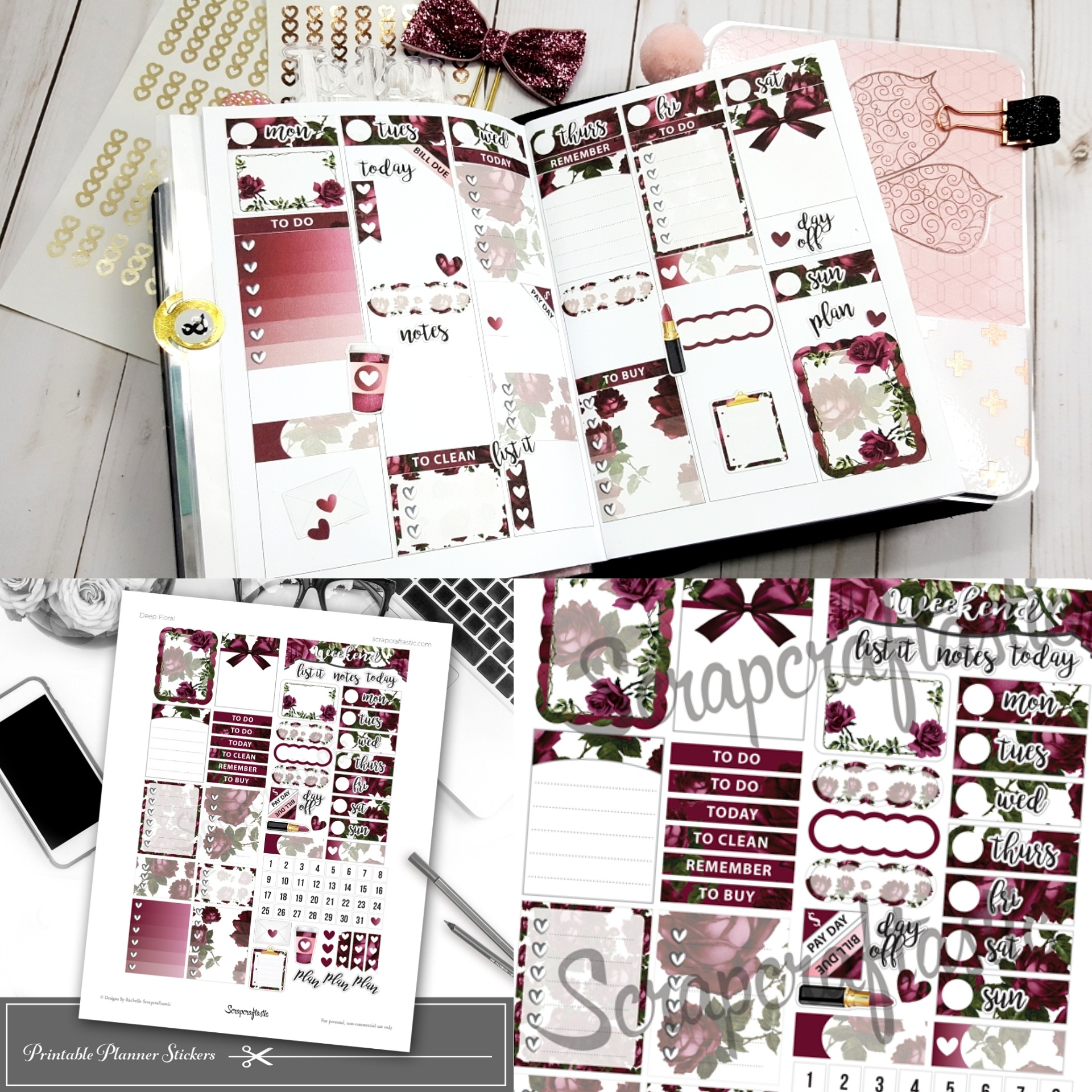 Deep Floral Printable Planner Sticker Sampler