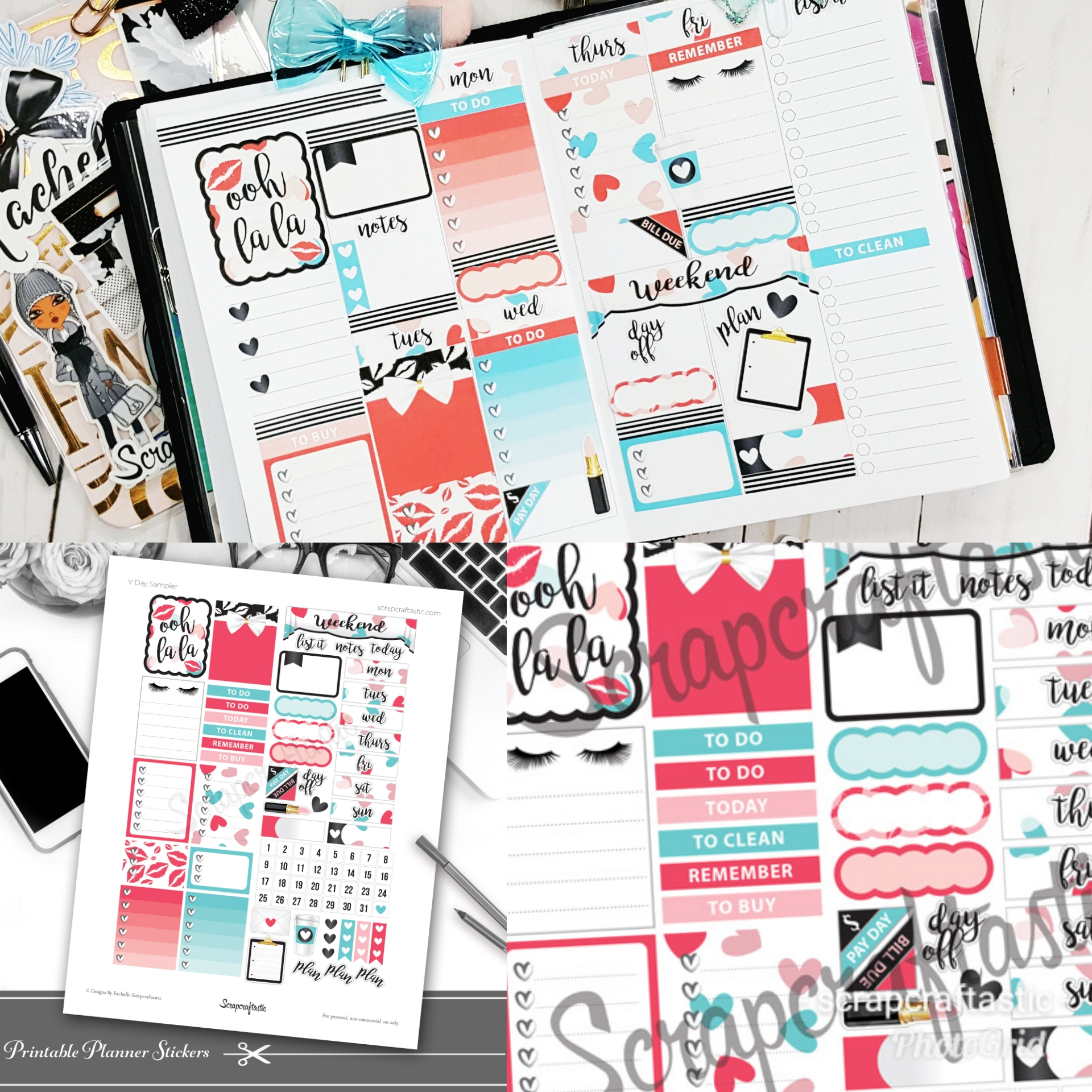 V Day Printable Planner Sticker Sampler