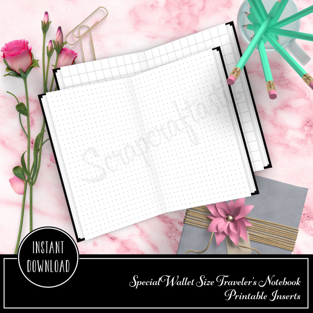 Grid and Dot Grid Wallet Size Traveler's Notebook Printable Insert