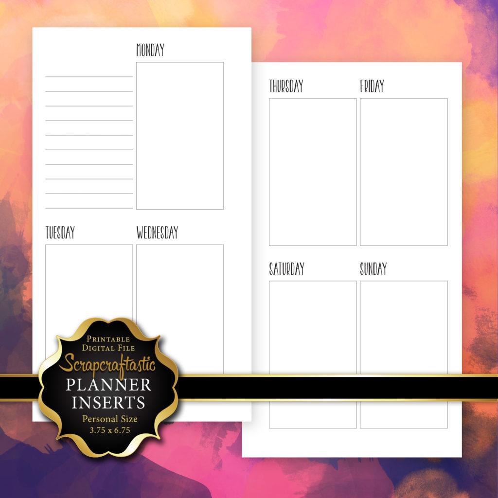 Planner Printable Insert Refill Undated WO2P Personal Size - Filofax Kikki K Kate Spade ColorCrush Erin Condren Size Oversized Full Boxes