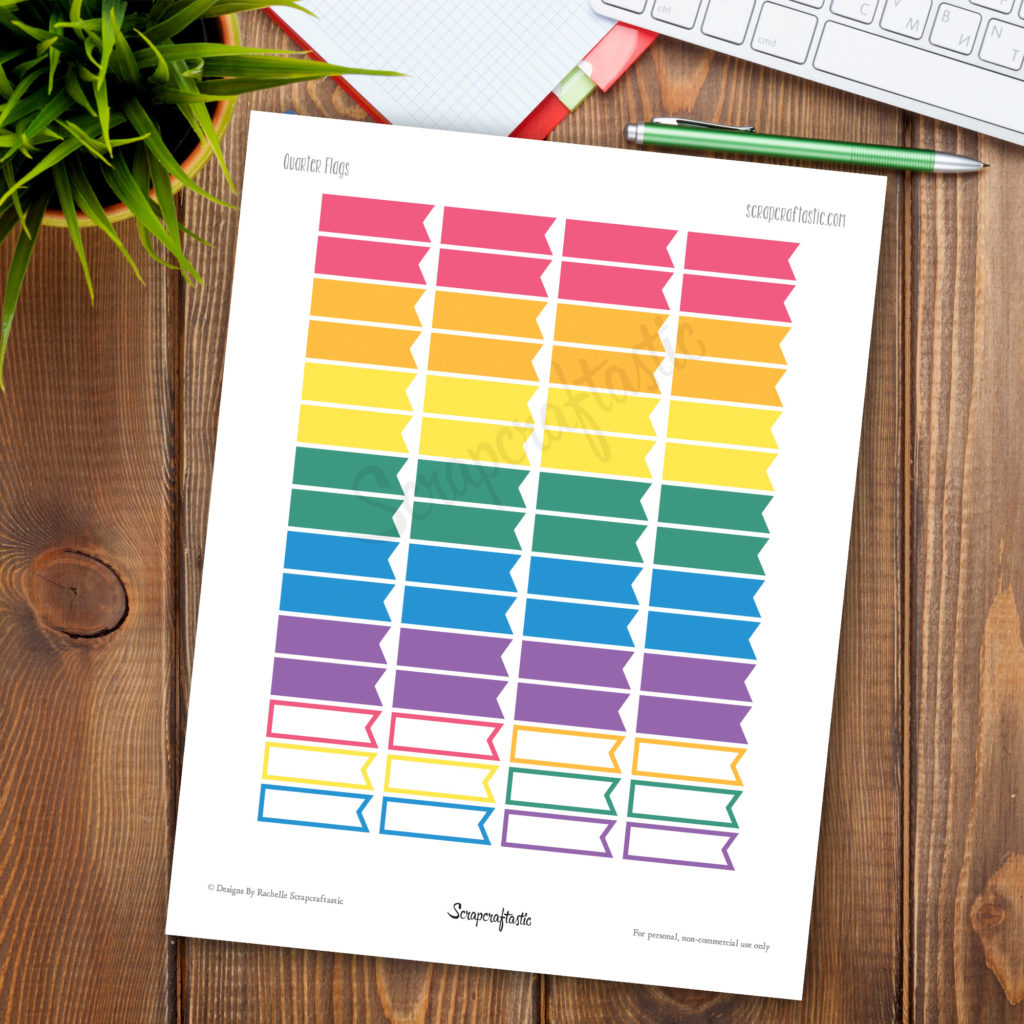 Bubblegum Flags Printable Planner Stickers for paper Planners and Organizers