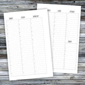 Half Page WO2P Hourly Printable Planner Inserts