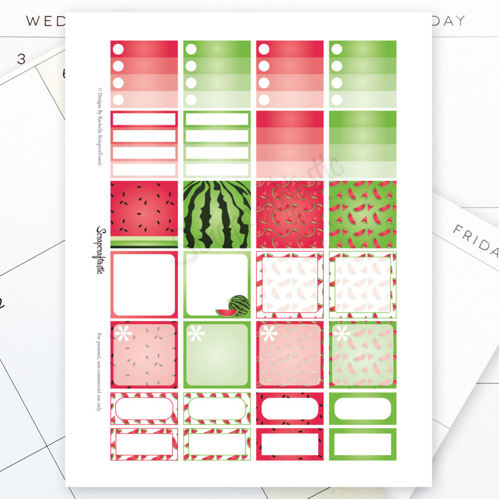 image regarding Happy Planner Monthly Layout Printable named Watermelon Regular Style Printable Planner Stickers for the