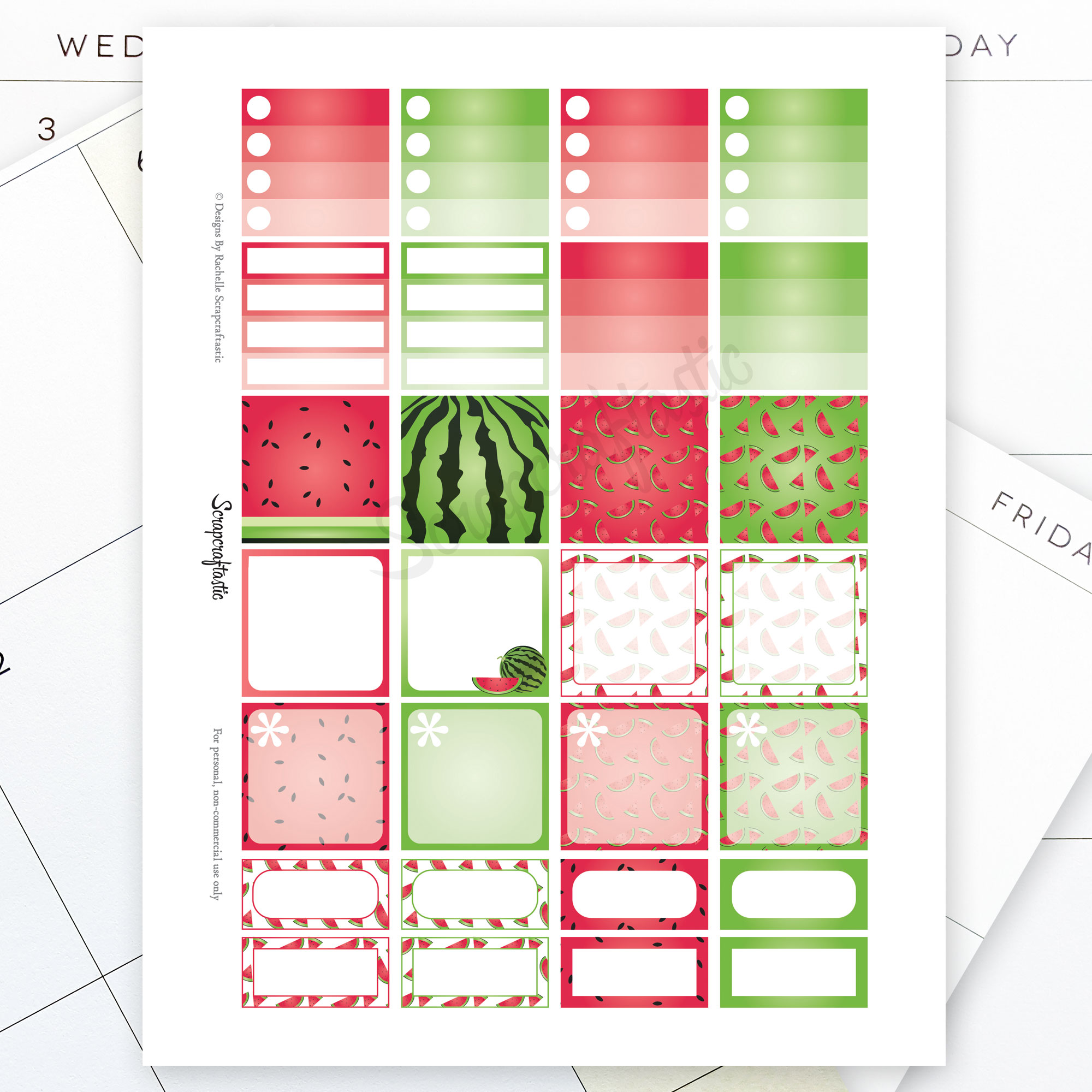 Watermelon Monthly Layout Printable Planner Stickers for ...