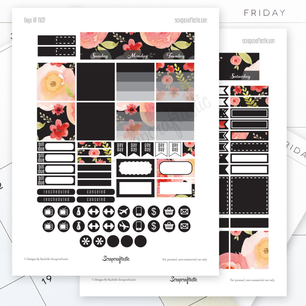 Onyx Month View Printable Planner Stickers
