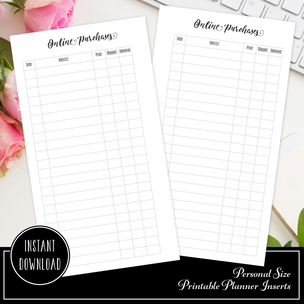 online purchaseorder tracker printable planner insert refill personal size planner