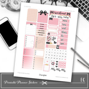 Quilted Pink Printable Planner Stickers