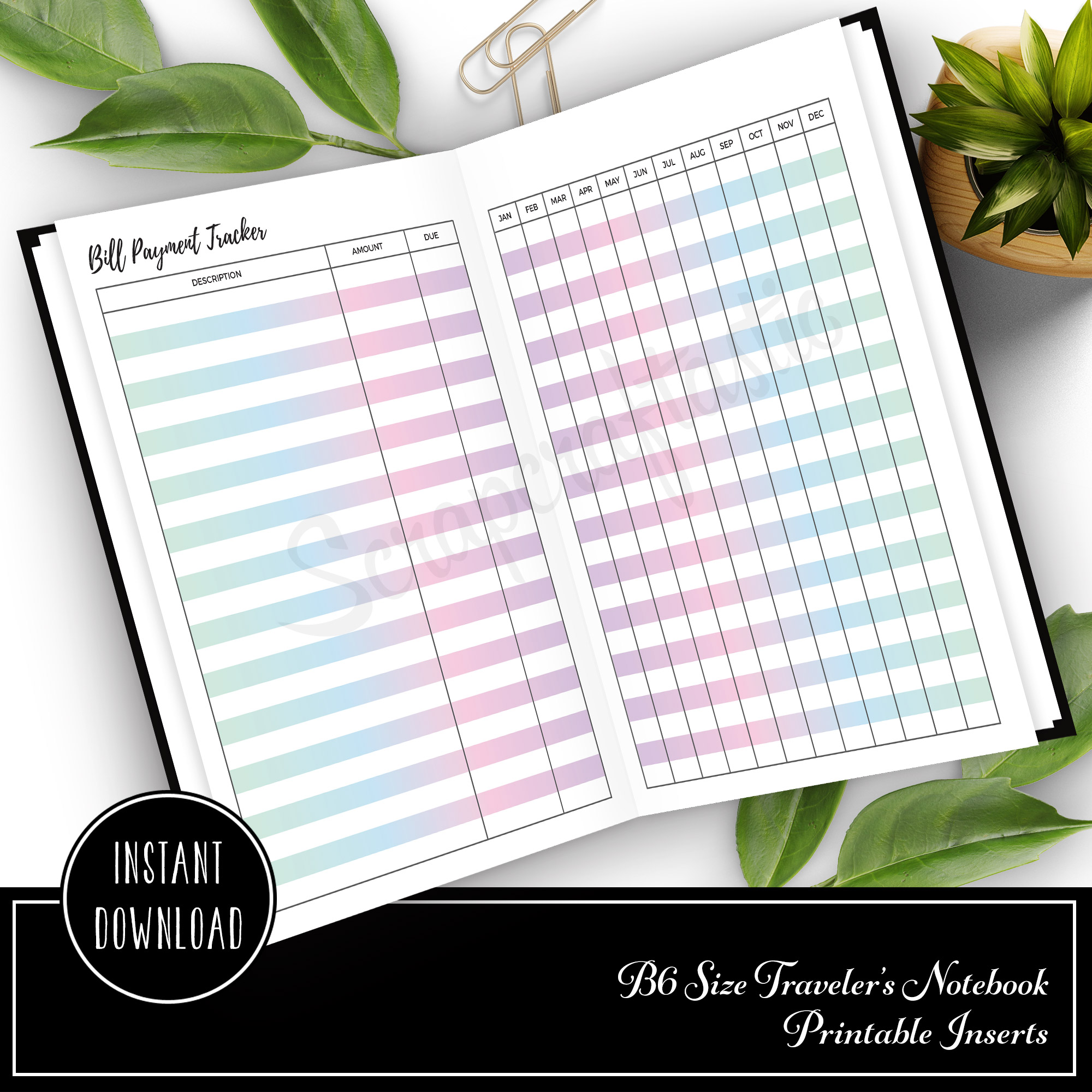 free bill payment tracker b6 traveler s notebook printable insert