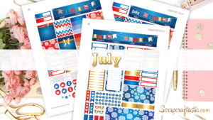 July Month View Printable Planner Stickers
