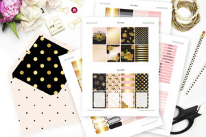 Roses are Gold Printable Planner Stickers
