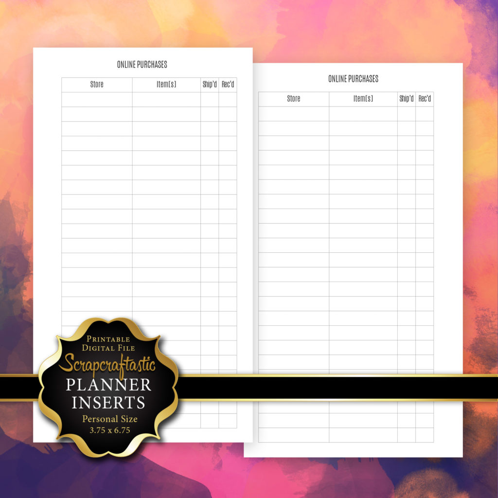online purchase tracker planner insert refill personal size planner