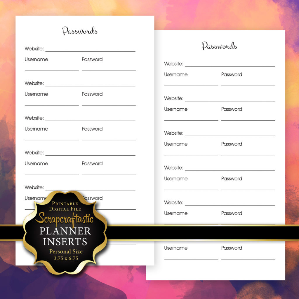 Password Log Planner Insert   Personal Size Planner Filofax Kikki K Kate Spade ColorCrush