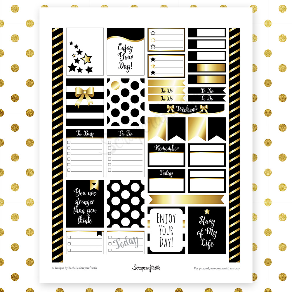 All Black Pro Printable Planner Stickers for Erin Condren (EC) Life Planner
