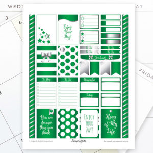 All Pro Green and Silver Printable Planner Stickers for MAMBI Happy Planner