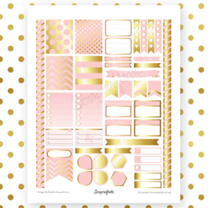 Lite Pink & Gold Printable Planner Stickers for Erin Condren Life Planner