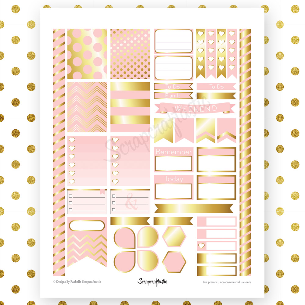 Lite Pink & Gold Printable Planner Stickers for Erin ...
