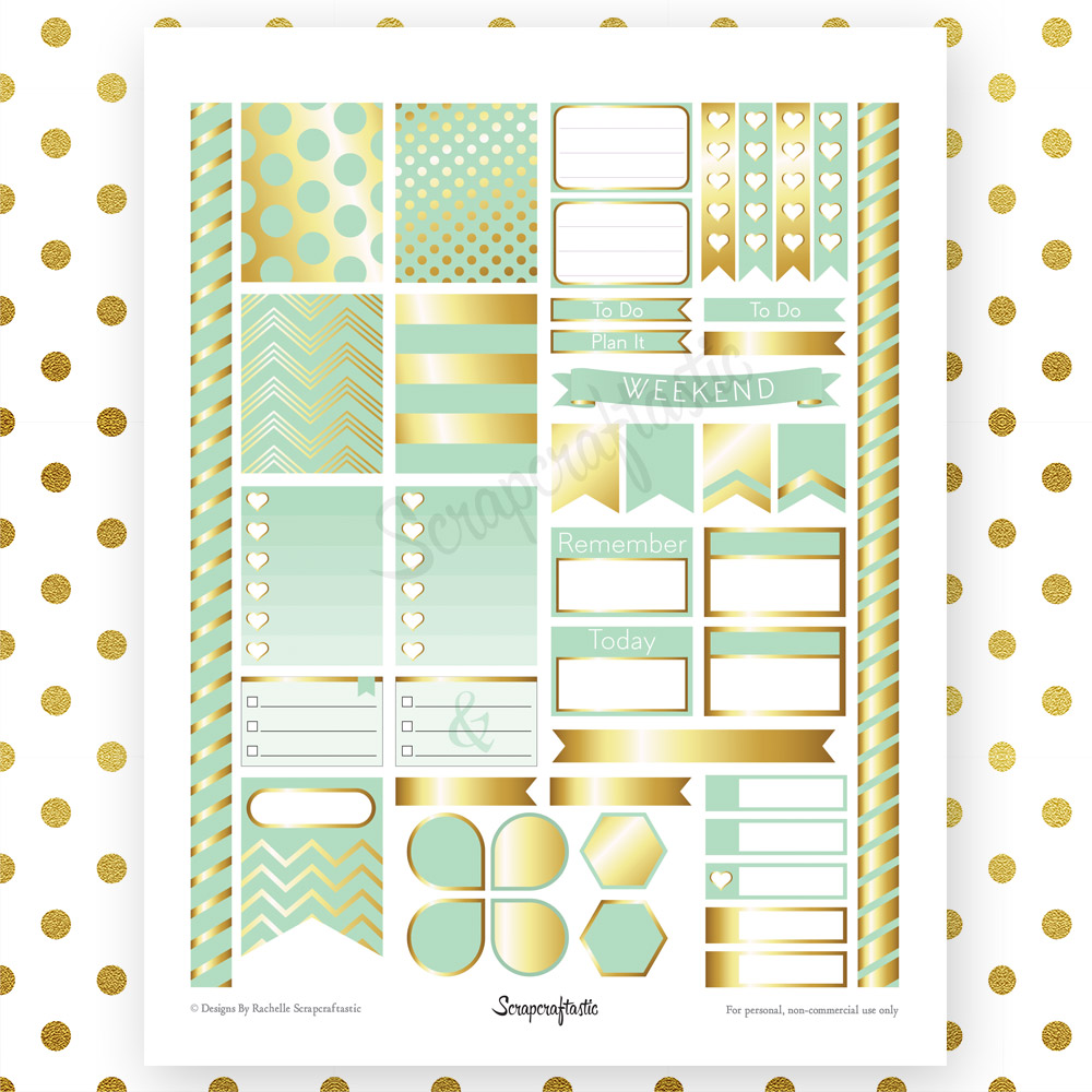 Mint & Gold Printable Planner Stickers for Erin Condren Life Planner