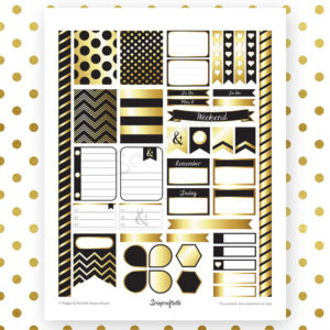 Onyx & Gold Printable Planner Stickers for Erin Condren Life Planner