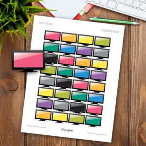 TV Half Box Printable Planner Stickers for any Planner
