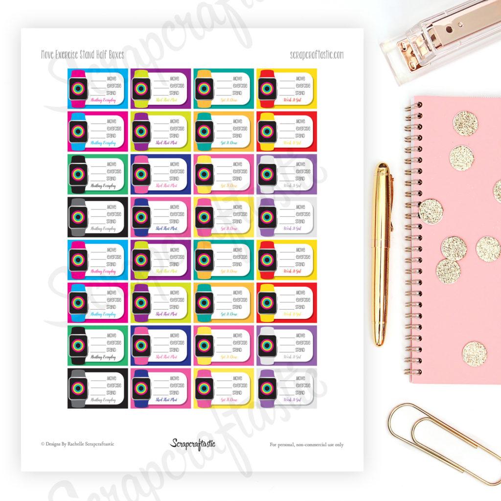 Fitness Watch Half Box Printable Planner Stickers