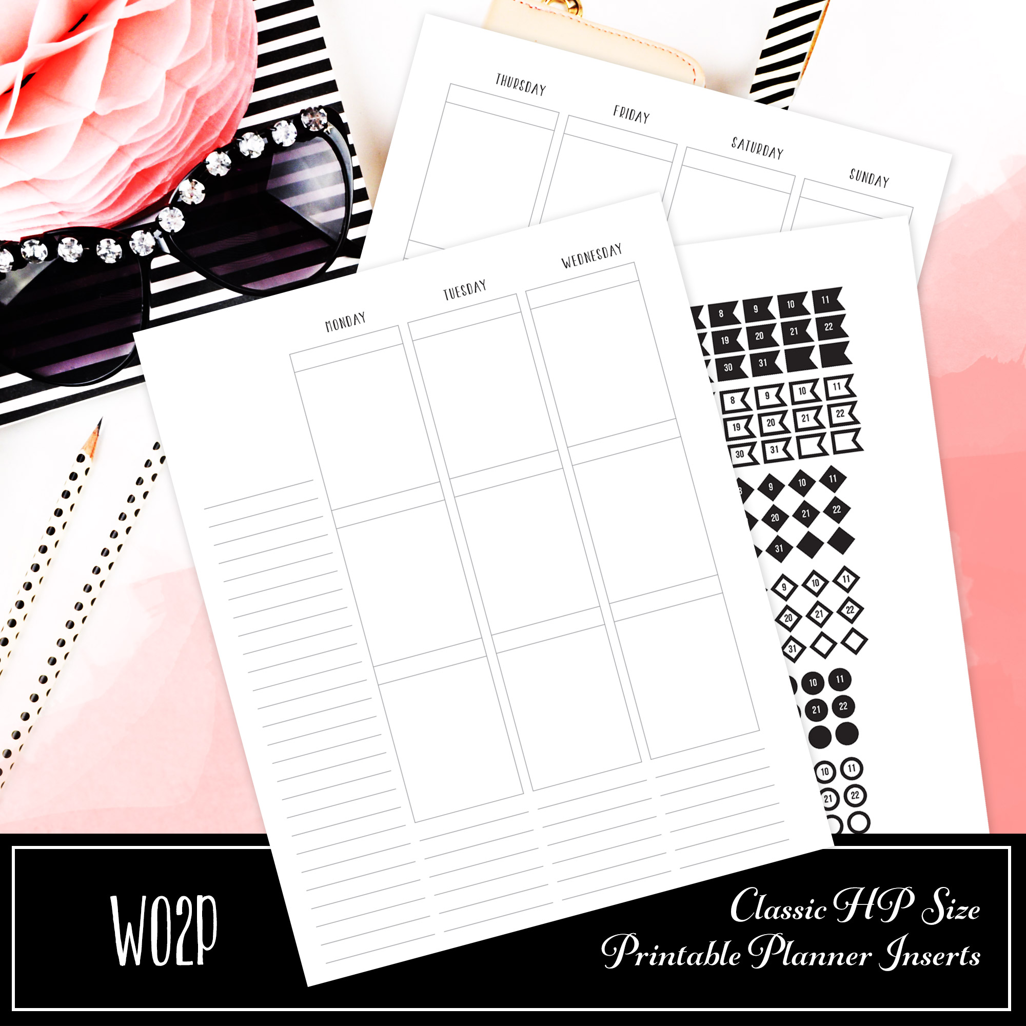 graphic relating to Hp Printable referred to as WO2P Clic HP Sizing Printable Planner Incorporate - Scraftastic