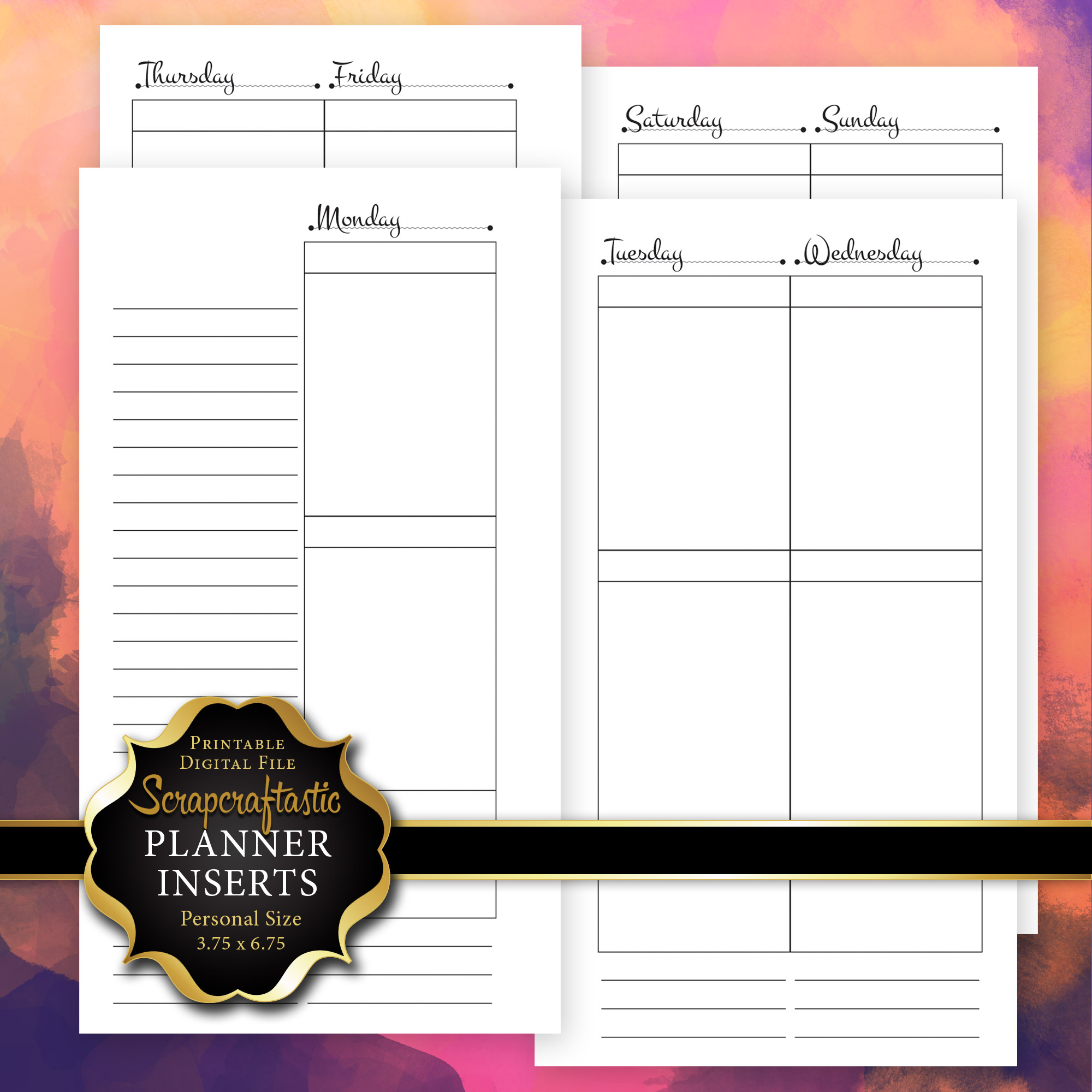 graphic regarding Free Planner Refills Printable referred to as Unique Printable Planner Inserts Archives - Scraftastic