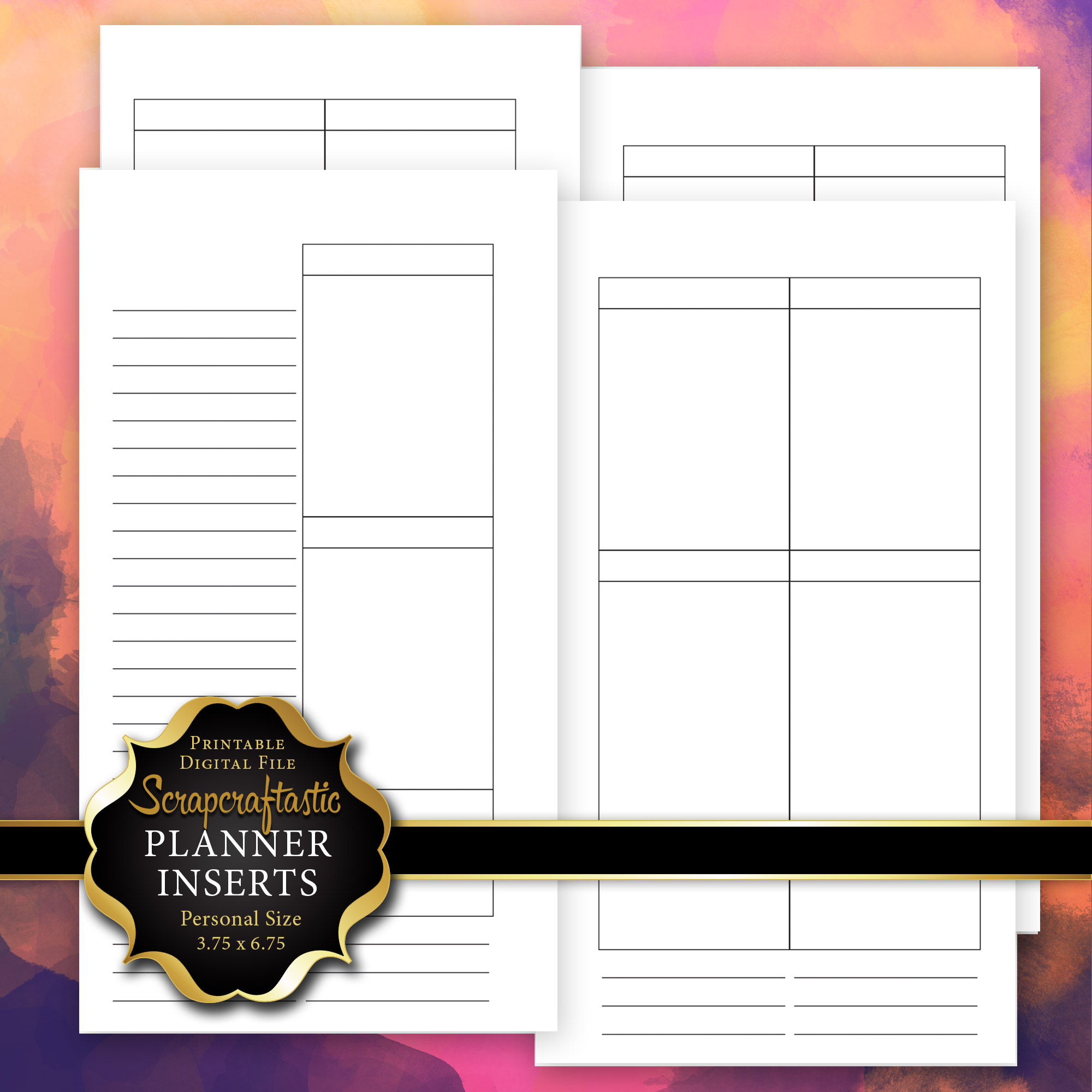 Blank Undated No Days WO4P Personal Size Printable Planner ...